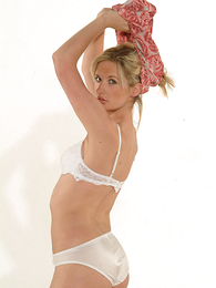 Panty photos - Leah posing in white