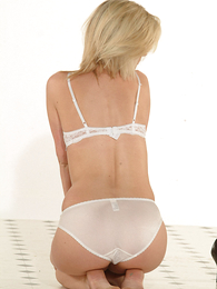 Thongs pics - Leah posing in white