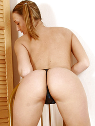 Undies photos - Playful pig-tailed tart takes their way louring thongs off