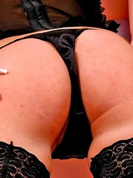 Panty photos - Lusty hotsy round black lingerie and stockings