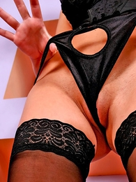 Thongs pics - Lusty hotsy round black lingerie and stockings