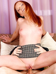 Girl in panties photo - Long haired redhead lets stud lift her miniskirt and pound her slit
