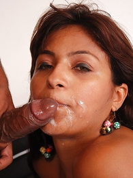 - Latina slut sucks thick dick till such time as she gets a nosh of hot jizz