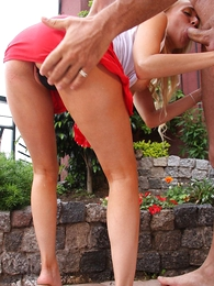 Panty galleries - Blonde in mini skirt teases neighbor waiting for he fucks their in the same manner close-fisted aggravation