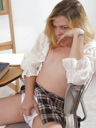 Undies pictures - Piping hot blond chick masturbating hither so muddy panty
